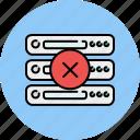 cancel, computer, delete, device, server, database