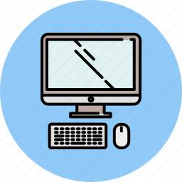 computer, device, keyboard, mouse, screen, technology icon