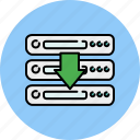 arrow, computer, device, down, download, server, technology icon