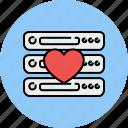 computer, device, favourite, heart, like, server, technology