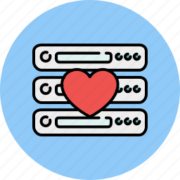 computer, device, favourite, heart, like, server, technology icon