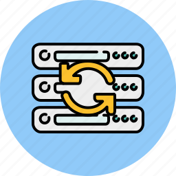 arrows, computer, device, refresh, server, technology icon