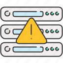 alert, computer, device, server, warning icon