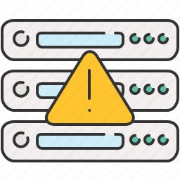 alert, computer, device, server, warning icon