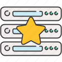 bookmark, computer, device, server, star icon