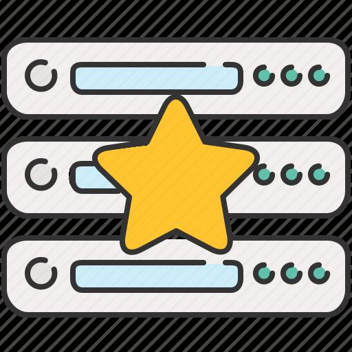 bookmark, computer, device, server, star icon