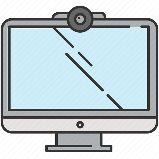 computer, device, screen, technology, webcam icon