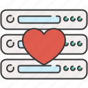 computer, device, favourite, heart, server icon
