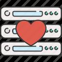 computer, device, favourite, heart, server icon
