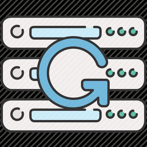 arrow, computer, device, refresh, server icon