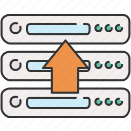 arrow, computer, device, server, up, upload icon