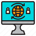 comfortable, computer, display, file, folder, user, wolrdwide icon