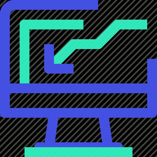 computer, graph icon