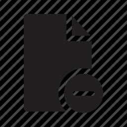 delete, document, files, minus, remove icon