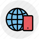 browser, cell phone, earth, globe, internet, mobile, world icon