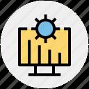 cogwheel, gear, graph presentation, lcd, monitor, presentation, setting icon