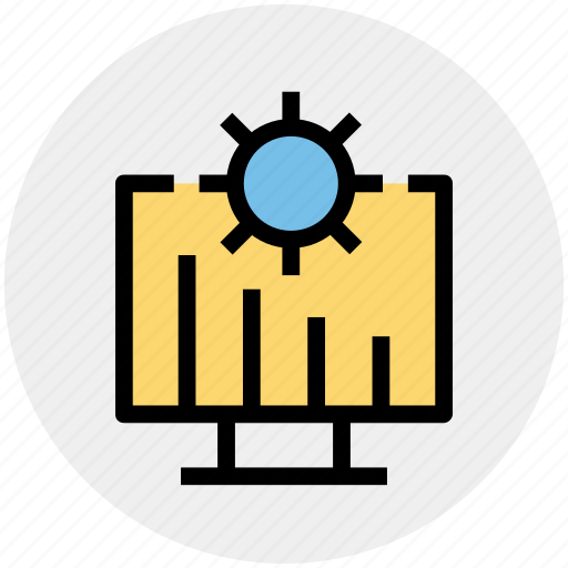 Cogwheel, gear, graph presentation, lcd, monitor, presentation, setting icon - Download on Iconfinder