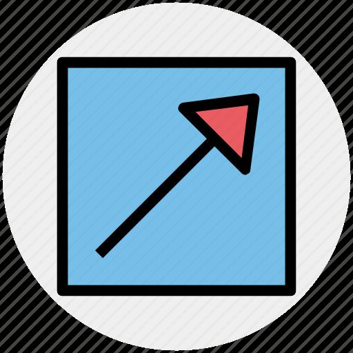 arrow, box, chart, graph, up icon