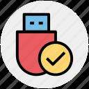 check, data saver flash, data stick, disk device, flash, flash drive, usb icon