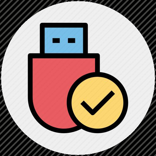 Check, data saver flash, data stick, disk device, flash, flash drive, usb icon - Download on Iconfinder