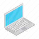 isolated, isometric, laptop, notebook, pc, screen, technology icon