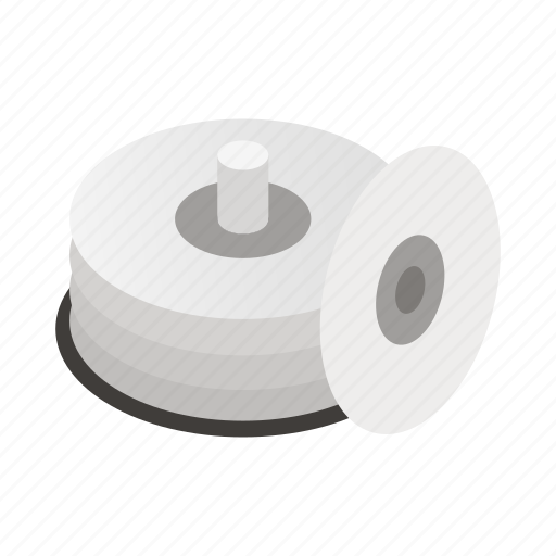 background, circle, compact, container, disk, isolated, isometric icon