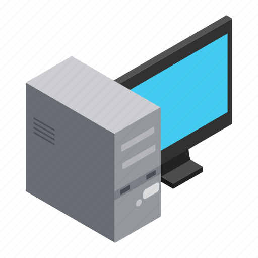 background, computer, desktop, isolated, isometric, pc, screen icon
