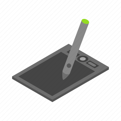 background, drawing, equipment, isolated, isometric, pad, tablet icon