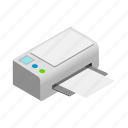 background, computer, isolated, isometric, paper, print, printer icon