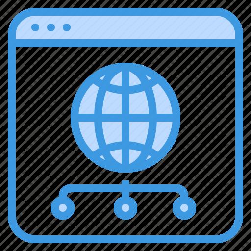 browser, communication, computer, global, internet, network, server icon