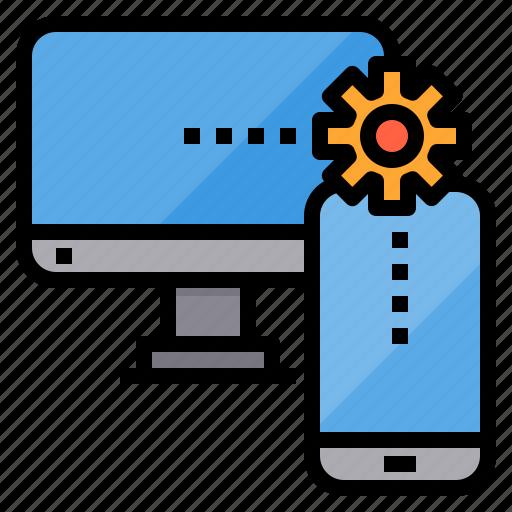 communication, computer, internet, network, server, syncronization icon