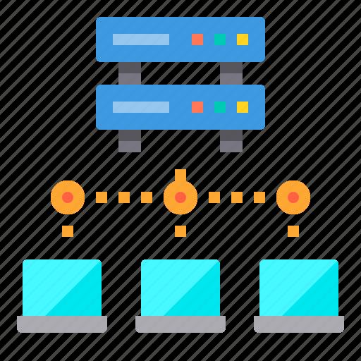 communication, computer, internet, laptop, network, server icon
