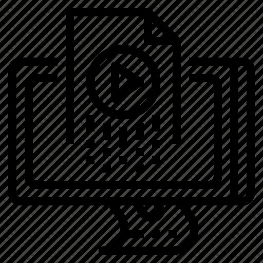 data, file, folder, management, video icon