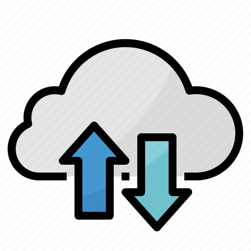 cloud, computing, connecting, download, upload icon