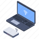 broadband network, internet connection, internet hub, wireless connection, wireless network icon