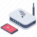 broadband network, modem, router, wireless network, wireless technology icon