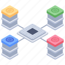 data bank, data hosting, data server, database, database network, datacenter icon