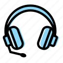 callcenter, computer, gaming, headphone, microphone, stuff icon