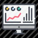 analytics, computer, monitor, pc, report, statistics, stats icon