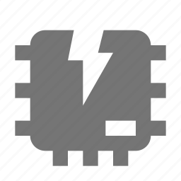 broken computer chip, computer chip icon