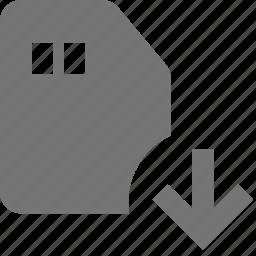 arrow, down, download, sd card icon