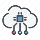 chip, cloud, connect, connection, processor, service, technology icon