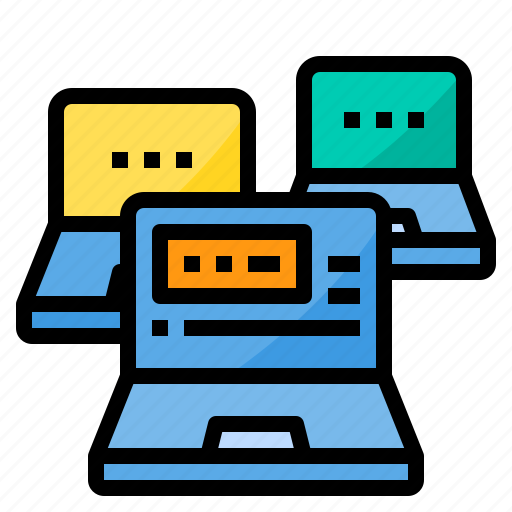 cloud, computer, connect, laptop, security, server, technology icon