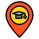education, learning, location, navigator, school, student, study icon