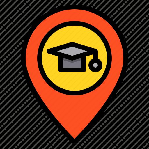 education, learning, location, navigator, school, student, study icon
