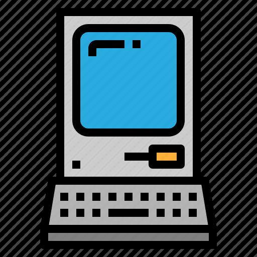computer, diskette, monitor, retro icon