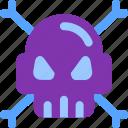 bone, computer, pirate, skull, virus icon