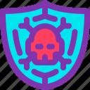 anti, computer, pirate, shield, skull, virus icon