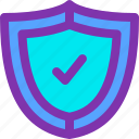 anti, computer, protection, secured, shield, tick, virus icon