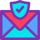 email, inbox, mail, protection, secured, shield, tick icon